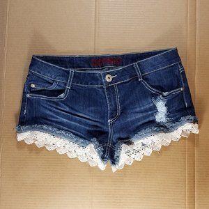 Womens/Juniors Lace Trim Denim Shorts